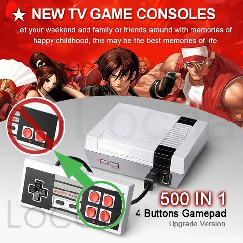 (4 Buttons Upgrade Version) 500 IN 1 4 Buttons Gamepad Mini Retro TV Game Console Classic 500 Built-in Games 2 Controllers (Upgrade Version)
