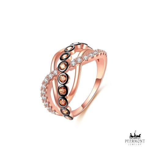 Rose Gold Plated & Champagne Cubic Zirconia Braided Statement Ring