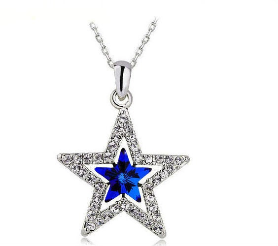 Austrian Crystal Blue & White Star Necklace Dallas Cowboys Fan Must Have!
