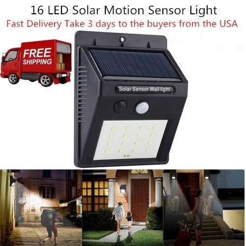 Free Shipping Solar Powered Waterproof 16 LED Motion Sensor Light for Porch, Garden, Yard, Patio, Pathway, Home, Fence, Deck, Driveway, Aisle