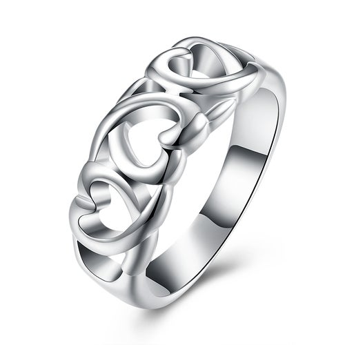 Hollow Heart Ring Silver Plated Wedding Bands Engagement Gift Fashion Jewelry Sets For Women Lady R090-8