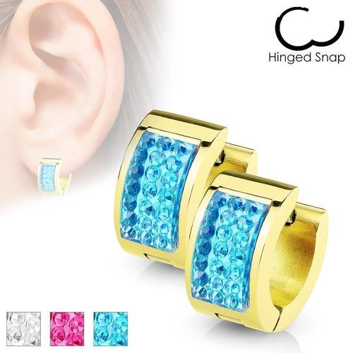 Square Crystal Paved IP Gold over Stainless Steel Hoop Huggieá
