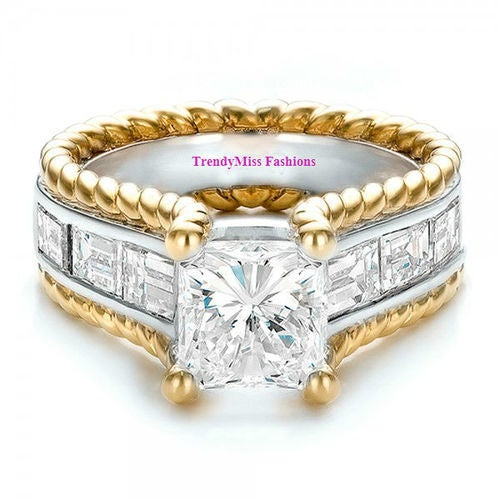 Stunning Gold Plated Two Tone Twisted Rope 3.33tcw 5A CZ Wedding/Engagement Ring 2 Colors Available