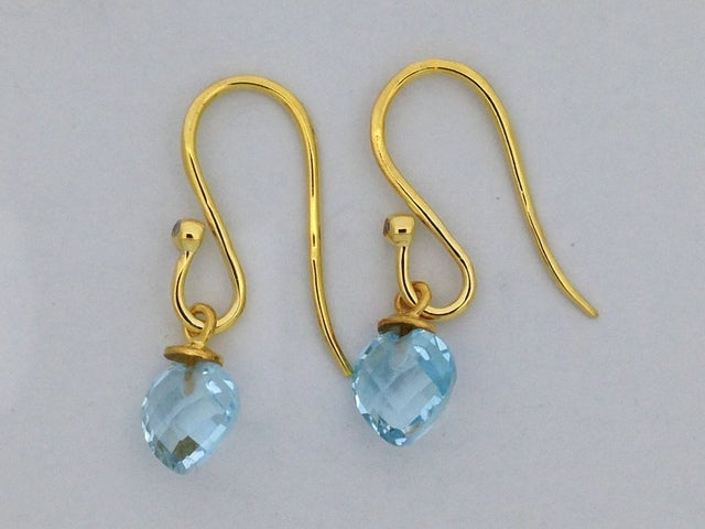 Heart Shape Natural Blue Topaz with Diamond Dangle Earrings 925 Sterling Silver
