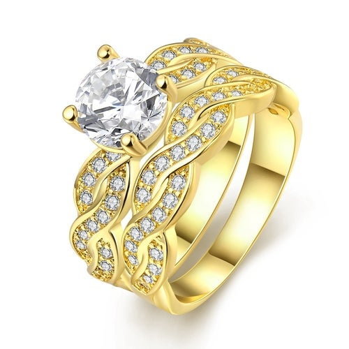 YJY Braids 2 in 1 Detachable Ring Wedding Bands Engagement Gift Fashion Jewelry Sets For Women Lady R005-8