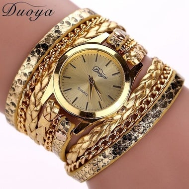 New 2017 Hot Women's Casual Vintage Multilayer Wristwatch Weave Wrap Rivet Leath