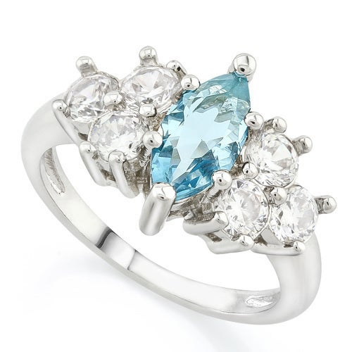 14k White Gold Filled, (AAA Grade) Blue and White CZ's Ring