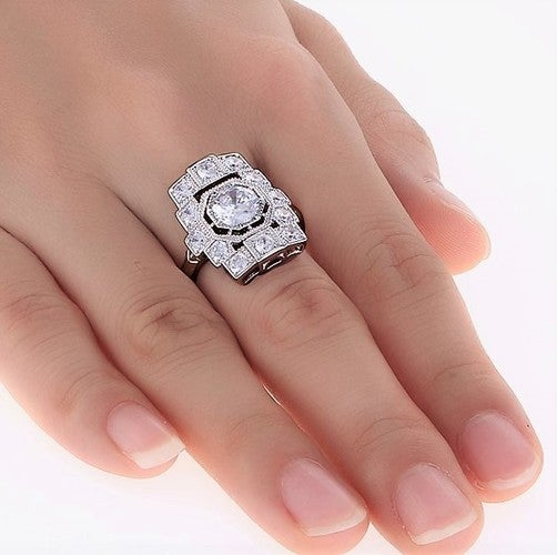 Vintage Inspired 2 Carat Ring 21x17mm By Diannes Designs