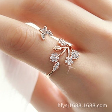 925 Sterling Silver Adjustable Size Butterfly Trees Engagement Ring for Color: S