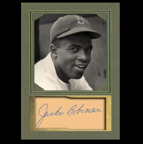 Awesome Jackie Robinson Of Brooklyn Dodgers Baseball Memorabilia Collectible Art Card With Facsimile Autograph In Storage Case