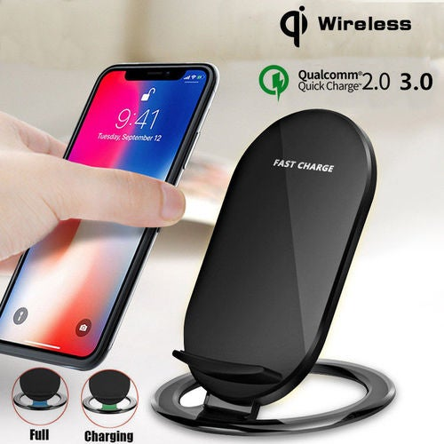 Qi Wireless Fast Charging LED Charger Stand Dock Holder Pad For iPhone Samsung