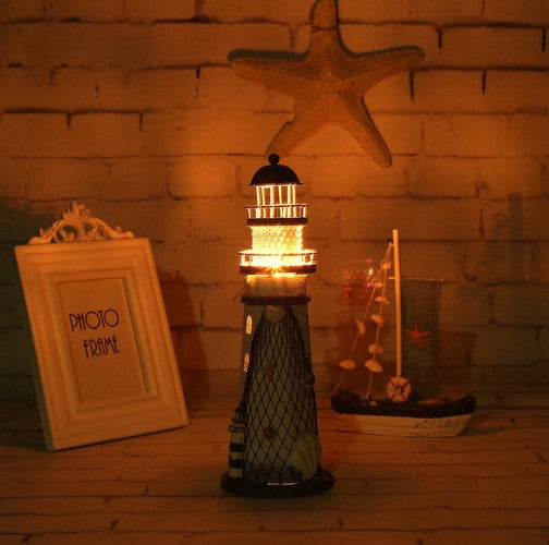 Novelty Iron European Mediterranean Style Lighthouse with LED Light