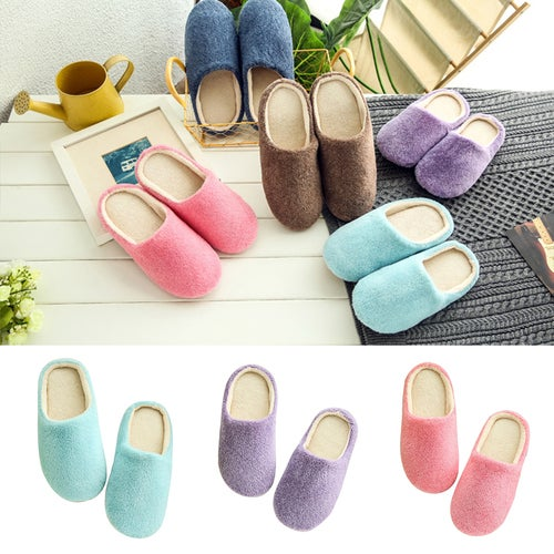 Unisex Autumn Winter Warm Soft Home Non-Silp Pure Color Slippers Indoor Shoes