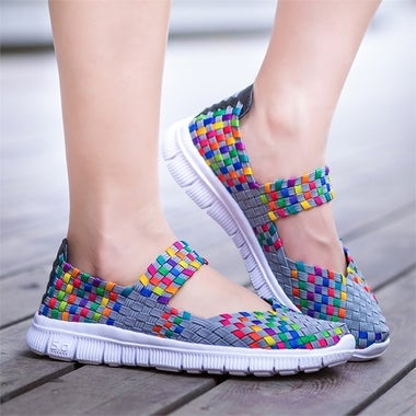 Fashion Casual Running Shoes Rainbow Lady's Sneaker Weave Mesh Fabric Flats Shoe