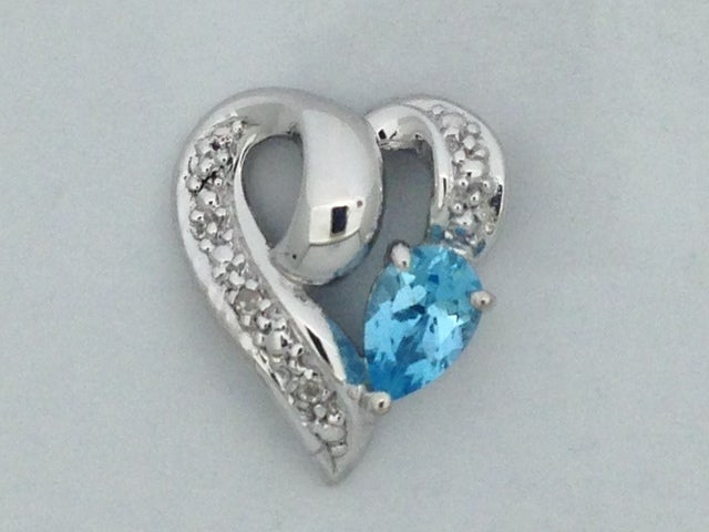 Natural Blue Topaz with Natural Diamond Heart Pendant 925 Sterling Silver