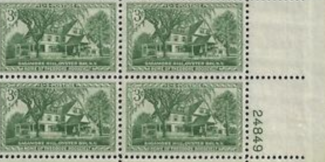3 cent STAMP SAGAMORE HILL HOME OF TEDDY ROOSEVELT US POSTAGE STAMP PLATE BLOCK