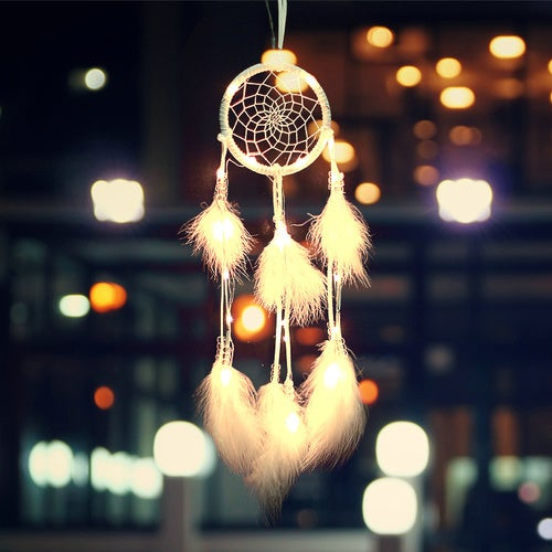 LED Light Up Feather Dream Catcher NightLight Romantic Lover Gift for Home Car Decoration