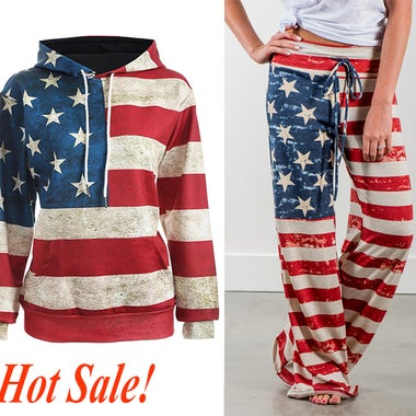 Women American Flag Printed Wide Leg Casual Loose Pants or Hooded Sweatshirt Pul