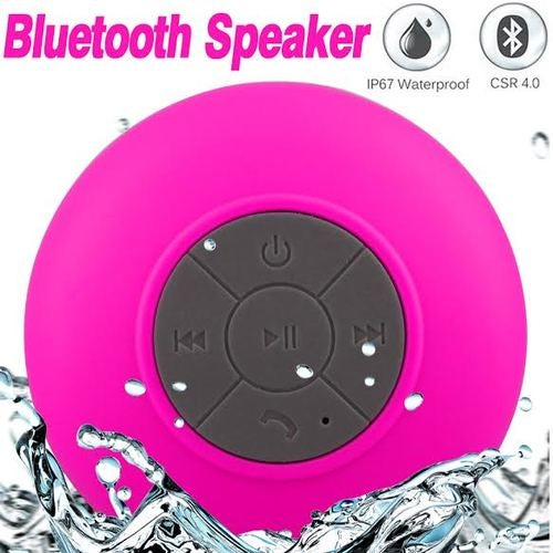 Pink Water Resistant Bluetooth Speaker Wireless Call Mic for Shower/ Car, iPhone, Smartphone, Tablet, MP3