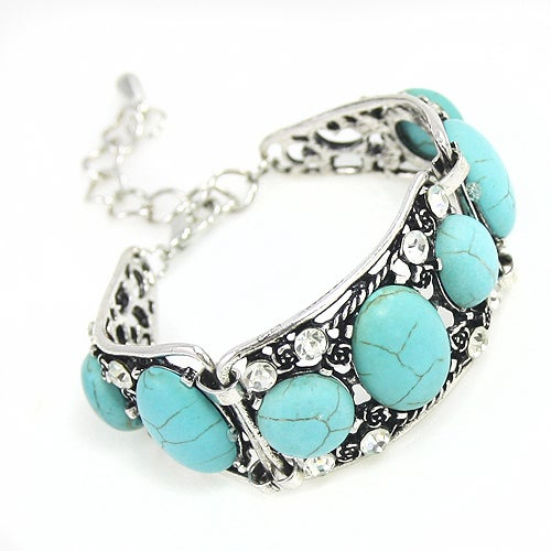Vintage Turquoise Bracelets for Women Silver Plated Chain Blue Bohemian Bracelet With Man Made Cut And Highest Quality Synthetic Stones