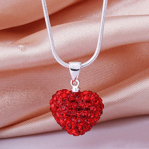 Silver Plated Red Crystal Heart Necklace