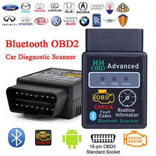 MINI Diagnostic Tool ELM327V2.1 Black Bluetooth OBD2 Car CAN Wireless Adapter Scanner TORQUE ANDRO