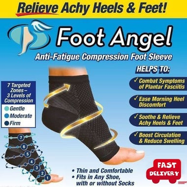 Unisex Foot Angel Compression SLEEVE Plantar Fasciitis Anti Fatigue 2 piece (1pa