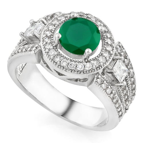 14k White Gold Filled, Beautifully Created Fine Emerald & White Sapphire Ring
