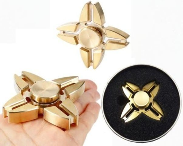 Copper QUAD Fidget Hand Spinner Torqbar Brass Finger Toy EDC Focus ADHD Autism (Gold)