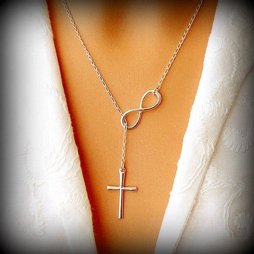 Silver Cross and Infinity Necklace