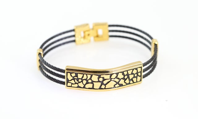 High end statement bracelet for man or women. Cable wire design and superior quality. Never fade technology.