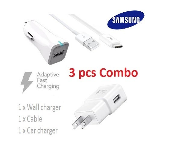 3 pcs Combo =Samsung Quick Fast Charge 2.0 Wall Adapter, Samsung 5FT Micro USB Charge Cable and Samsung FAST Car charger