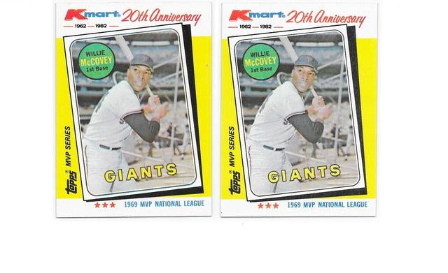 (2) Willie McCovey Cards - (HOF 1986) - 1982 Topps Kmart 20th Anniversary MVP (1969) Card # 16 - ( NL Rookie of Year 1959 & 5 X All Star & 3 X NL Home Run Leader) - No reprint here