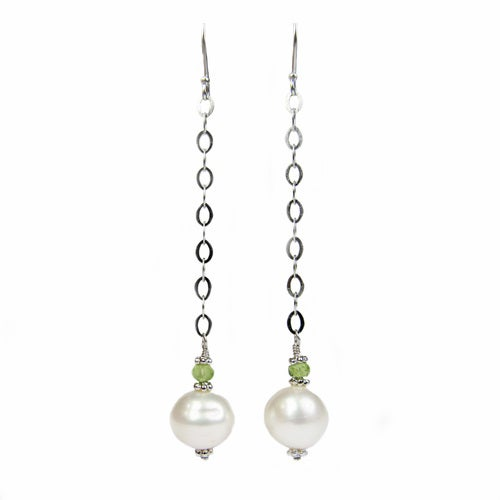 Genuine Offround Freshwater Pearl & Peridot Chips Earrings
