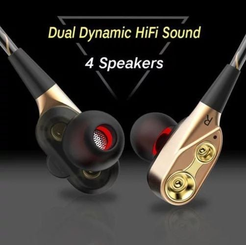 R6 Dual Driver Earphones Stereo Bass Headphones Sport Running Headset HIFI  Monitor Earbuds Handsfree With Mic