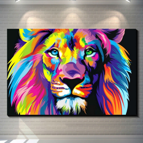 Colour Lion Abstract Painting Home Print Picture Art Pictures Canvas Wall Art Prints Unframed