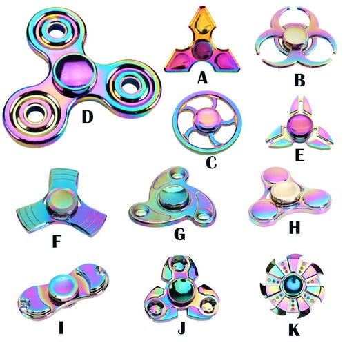 New Tri Fidget Hand Spinner Metal Rainbow Triangle Finger Toy EDC Focus Kids/Adults