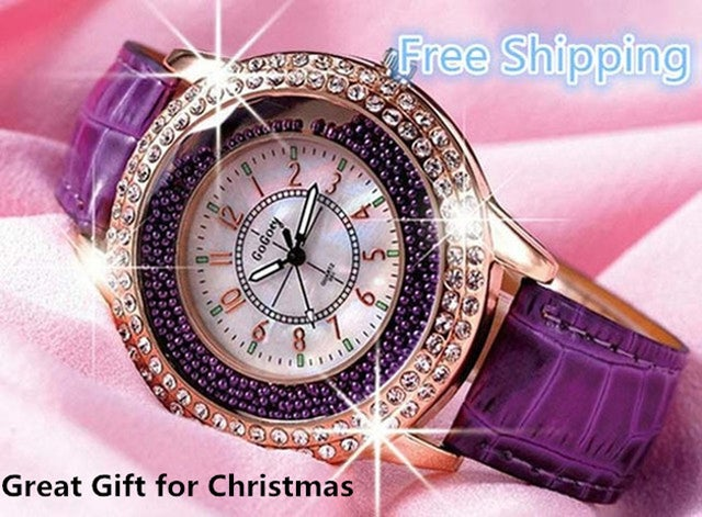 Free Shipping Great Gift for Christmas Gogoey Brand Luxury Crystal Watches