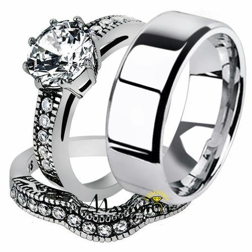 His & Her 3pc Stainless Steel 2.29 Ct Cz Bridal Ring Set & Men Beveled Edge Band