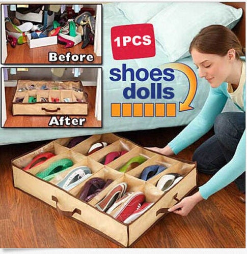 2018 Best Gift 12 Pairs Under Bed Organizer Shoes Storage Holder Container Closet Box Bag