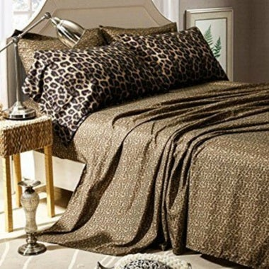 Honeymoon Sheet Set Cheetah Print Soft Polyester 4 Piece (Twin Size is 3 PC)