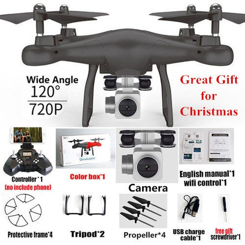Great Christmas Gift for Your Family and Friends!!! Wifi FPV Remote Control RC Drone S10 with 720P Wide Camera Headless Mode One-key Return Remote Control RC