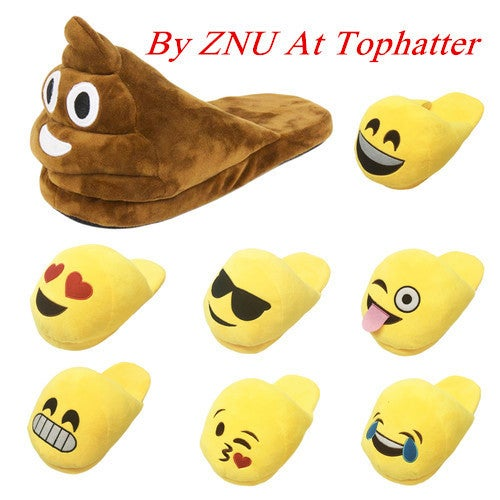 3D Emoji Unisex Slip On Slippers Cartoon Winter Home Indoor Shoes Face Slippers