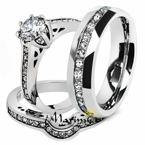 His & Her 3pc Stainless Steel 1.85 Ct Cz Bridal Ring Set & Men Beveled Edge Band