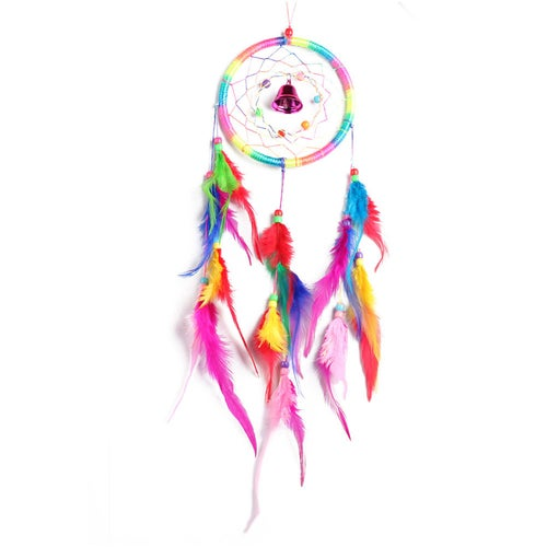Creative colorful bells hunting dream net home crafts wall car feathers pendant