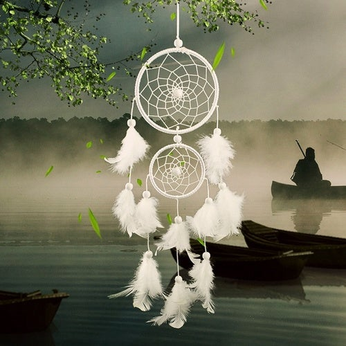 Foonee Goose Feather 2 Rings Dream Catcher for Vehicle and Home Decor Jewelry (White,Black)