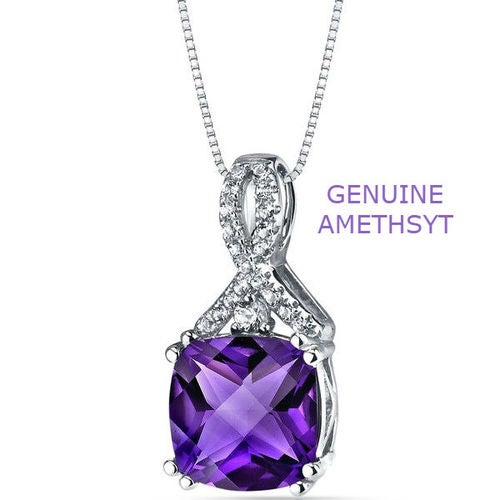 Diamond Accent Genuine Amethyst Forever Swirl Turtle Face Stone Necklace
