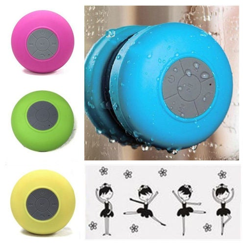 Wireless Bluetooth Handsfree Waterproof Mic Suction Mini Speaker Shower Car