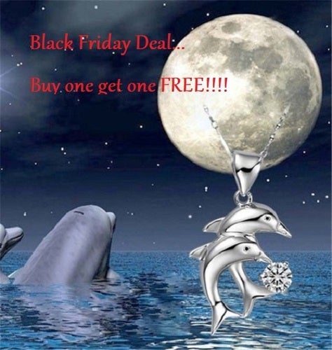 Black Friday Deal... Buy one get one FREE !!! 18K WGP AAA CZ Double Dolphin Necklace