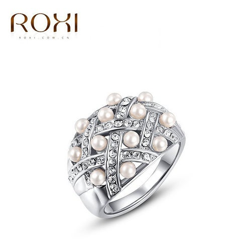 Stylish atmosphere export Platinum Pearl Rings